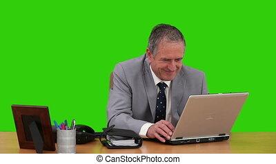 téléphones, ordinateur portable, travail, homme affaires, utilisation