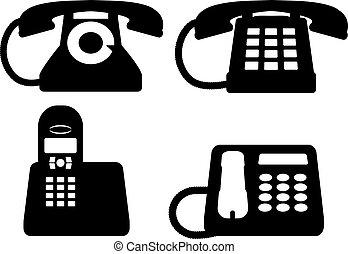 téléphones, silhouettes, noir