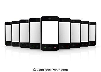 téléphones, touchscreen., moderne, mobile