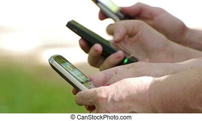téléphones, usage, -, hd, gens