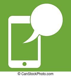 téléphonez icône, parole, vert, bulle