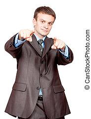 téléspectateur, homme affaires, doigts, pointage