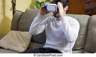 téléspectateur, jeune, réalité virtuelle, utilisation, homme