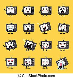téléviseur, caractère, emoji
