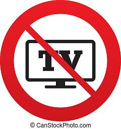 téléviseur, non, tv, widescreen, symbole., signe, icon.