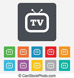 téléviseur, tv, symbole., signe, retro, icon.