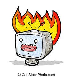 téléviseur, vieux, dessin animé, brûlé