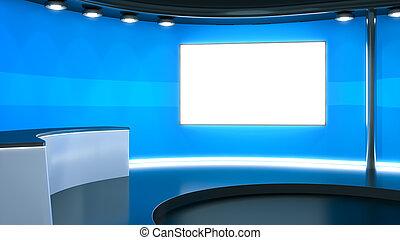 télévision bleue, studio, fond
