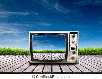 télévision bois, vieux, terrasse