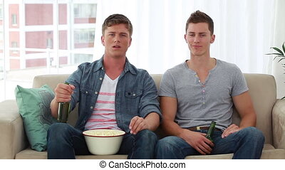 télévision regarde, être, hommes, jeune, quoique, décue