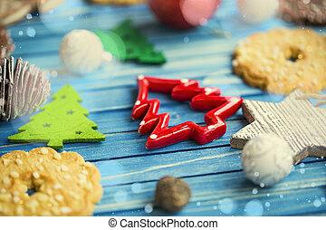 tél, ünnepek, dísztárgyak, helyett, a, karácsonyfa, képben látható, festett, erdő, bizottság, selective konvergál, közül, fa, christmas díszít