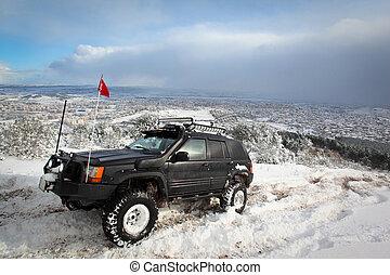 tél, 4x4, évad, egy, autók, suv, havas, jár, út