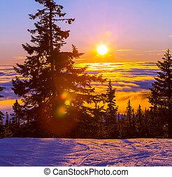 tél, alatt, hegyek