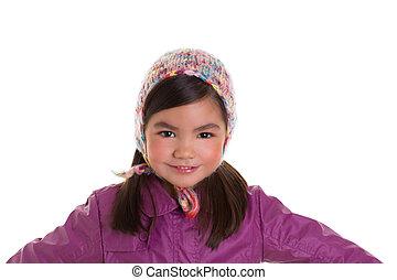 tél, bíbor, bőr, sapka, asian gyermekek, portré, leány, gyapjú, kölyök