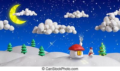 tél, christmas táj, épület, bukfenc