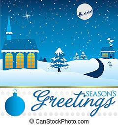 tél, christmas táj, kártya, alatt, vektor, format.