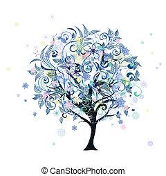 tél, dekoratív, fa