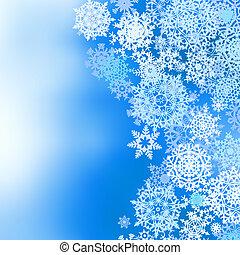 tél, fagyasztott, háttér, noha, snowflakes., eps, 8