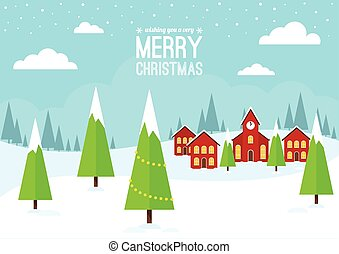 tél, falu, christmas táj