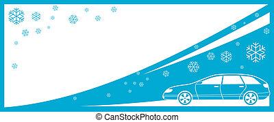 tél, háttér, noha, autó, és, hó