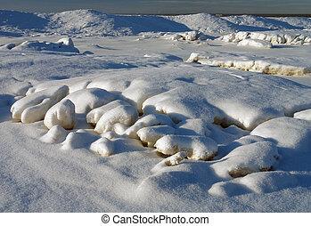 tél, hó, felhalmoz, háttér