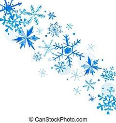 tél, kártya, év, köszönés, vízfestmény, háttér, vektor, meghívás, új, vidám christmas, hópihe