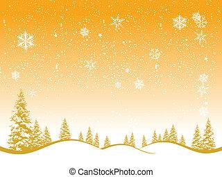 tél, karácsony, erdő, tervezés, háttér, -e