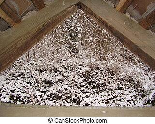 tél, kilátás, át, egy, ablak