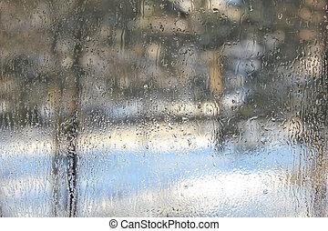 tél, kilátás, át, elhomályosított, felett, pohár, közül, ablak.