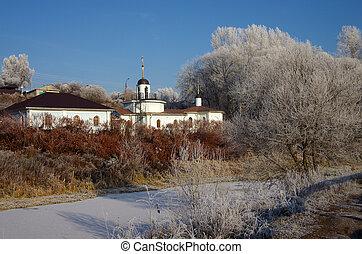 tél, nap, alatt, a, orosz, village.