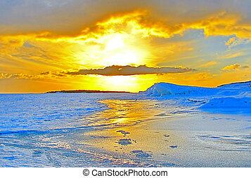 tél, napnyugta, felett, fagyasztott, balti-tenger, alatt, finnország