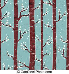 tél, nyírfa, erdő