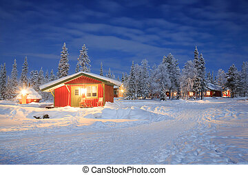 tél parkosít, éjjel, lappföld, svédország