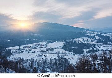 tél parkosít, noha, hó, alatt, hegyek