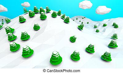 tél természet, elvont, poly, alacsony, háttér, táj