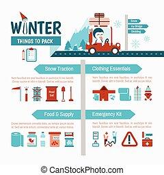 tél, vezetés, lista, csomagolás, biztonság, infographics, ...