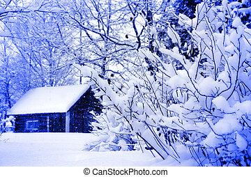 tél, vidéki parkosít, épület, alatt, hóesés