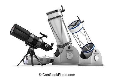 télescope, ensemble, blanc, fond
