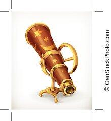 télescope, icône, ancien
