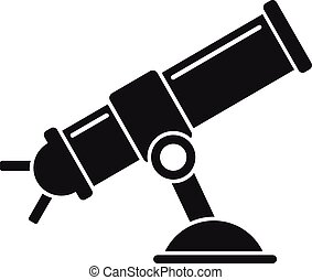 télescope, icône, style, simple
