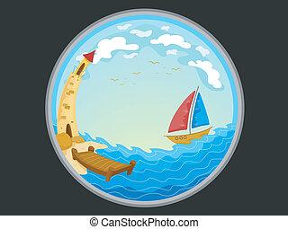 télescopique, phare, bateau, vue