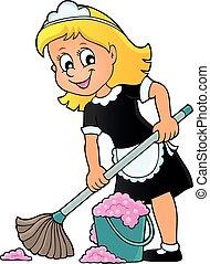 téma, 2, hölgy, takarítás, kép