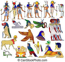 téma, egyiptom, ősi, különféle