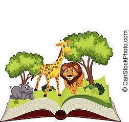 téma, könyv, feláll, váratlanul, állat