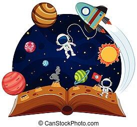 téma, könyv, feláll, váratlanul, hely