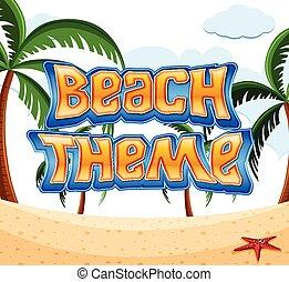 téma, tengerpart, karikatúra, színhely