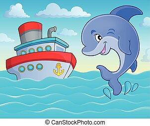 téma, ugrás, 5, delfin, kép