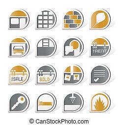 tényleges, állhatatos, birtok, ikonok, -, vektor, ikon