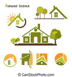 tényleges, állhatatos, természetes, birtok, ügy icons, épület, alapismeretek, háttér., fehér