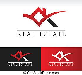 tényleges, épület, birtok, tető, ikon